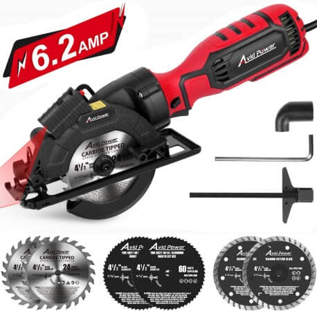 Avid Power Circular Saw, 4-1 2 Compact Electric Circular Saw 6.2A with 6 Saw Blades, Laser Guide, Scale Ruler, Ideal for Wood, Soft Metal, Tile, and Plastic Cuts