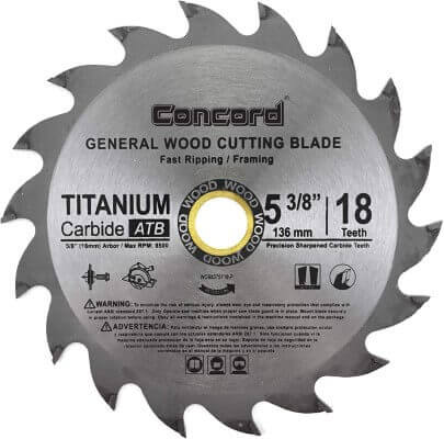 Concord Blades WCB0538T018HP 5-3 8-Inch 18 Teeth TCT General Purpose Hard & Soft Wood Saw Blade