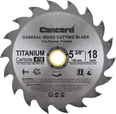 Concord Blades WCB0538T018HP 5-3 8-Inch 18 Teeth TCT General Purpose Hard & Soft Wood Saw Blade