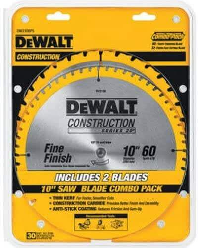 DEWALT 10-Inch Miter Table Saw Blades, 60-Tooth Crosscutting & 32-Tooth General Purpose, Combo Pack (DW3106P5),Metallic