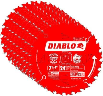 Diablo D0724A 7-1 4 24T Diablo Circular Saw Framing Blade