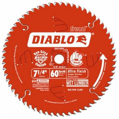 Freud D0760A Diablo 7-1 4 x 60-Tooth Ultra Fine Finishing Circular Saw Blade with 5 8 Arbor and Diamond Knockout Single Blade