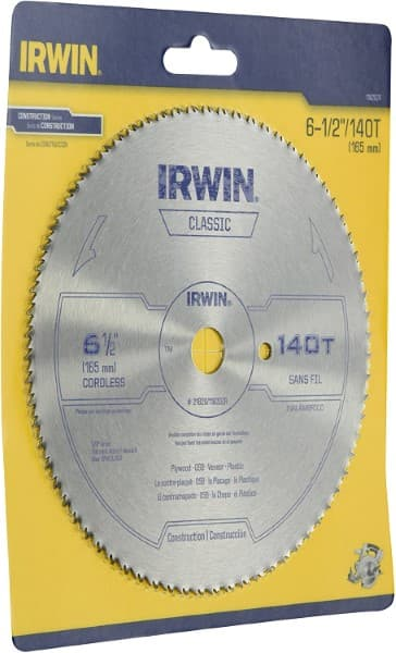 Irwin 11820ZR 6-1 2-Inch 140 Tooth TFG Plastic, Plywood, and Veneer Cutting Saw Blade with 5 8-Inch Arbor