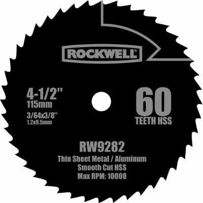 Rockwell RW9282 4 1 2-Inch 60T High Speed Steel Compact Circular Saw Blade