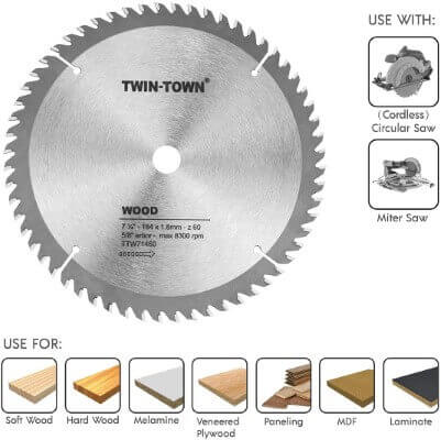 TWIN-TOWN 7-1 4-Inch Saw Blade, 60 Teeth,General Purpose for Soft Wood, Hard Wood, Chipboard & Plywood, 5 8-Inch DMK Arbor